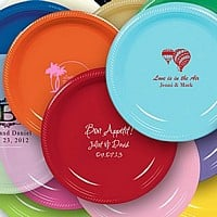 7 Inch plastic plates in assorted colors with custom print