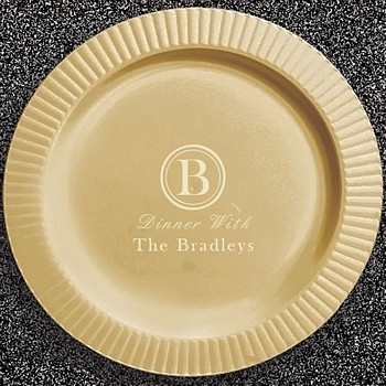 Gold ribbed egde plastic dinner plate with Monogram design and text in Ivory imprint color