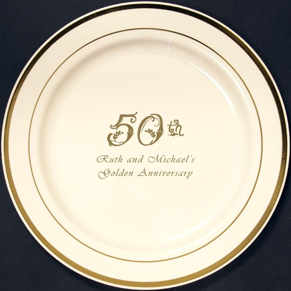 10 In. Personalized Reusable Gold Trim Wedding Dinner Plates