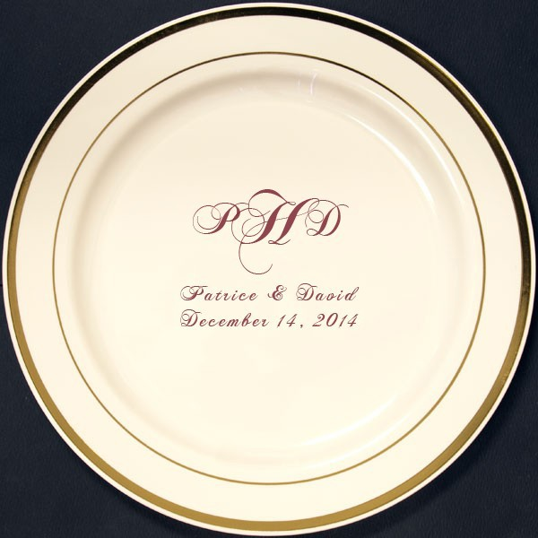 Ivory plastic party plates with gold trim personalized with M-25 monogram design and custom text in Burgundy imprint color
