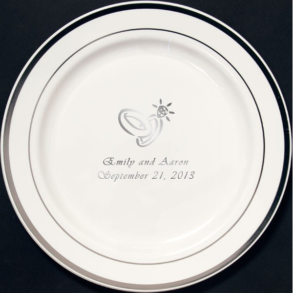 7 Inch white plastic plate with silver trim personalized with wedding ring design and text in silver imprint color