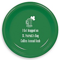 Green 7 inch party plate personalized with IR1101 beer mug and shamrock design and Niagra letter style in White imprint color