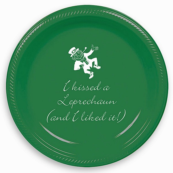 Green 7 inch party plate custom printed with IR1107 dancing Leprechaun design and Bickley letter style in White imprint color