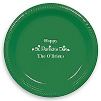 Green 10 inch plastic dinner plate custom printed with IR1121 St. Patrick's Day calligraphy design and Americana letter style in White imprint color