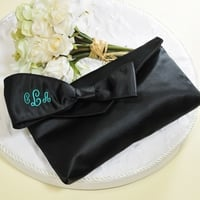 Bridesmaid clutch in black with embroidered monogram