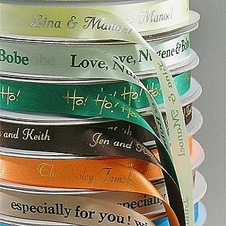 Custom printed 3/8 inch wide dyna satin favor ribbon available in 22 vivid colors