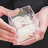 Clear acrylic wedding ring box in groom's hands