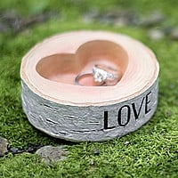 Birch log design resin wedding ring holder with heart shape bowl