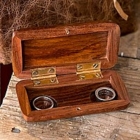 Open view of personalized his and hers wood pocket wedding ring box