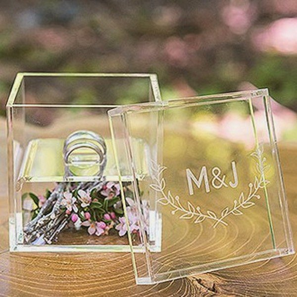 Clear acrylic wedding ring box custom engraved with bride and groom's initials and woodland design