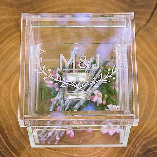 Woodland design clear acrylic wedding ring box with bride and groom initials