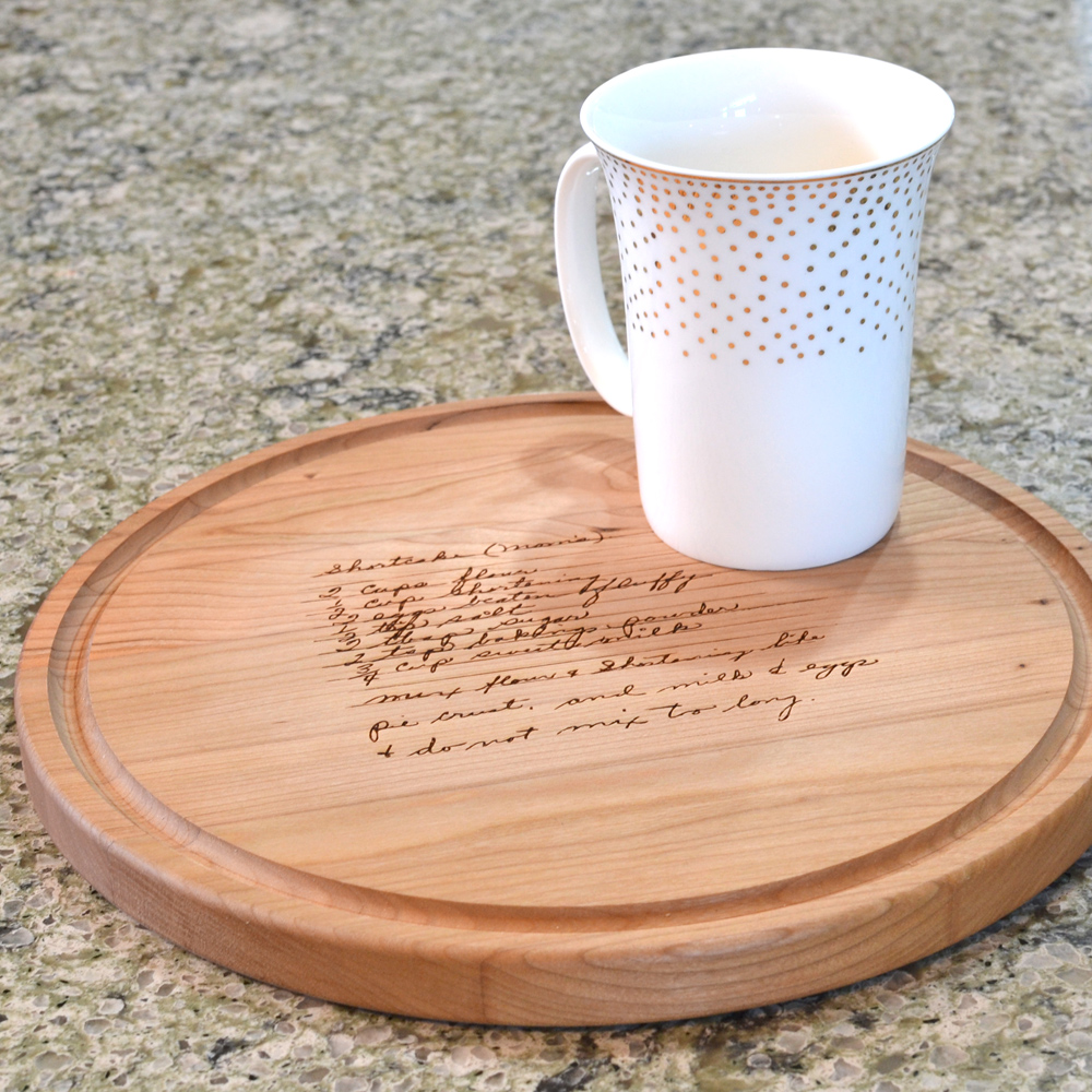 Cherry hardwood cutting board laser engraved with family heirloom recipe