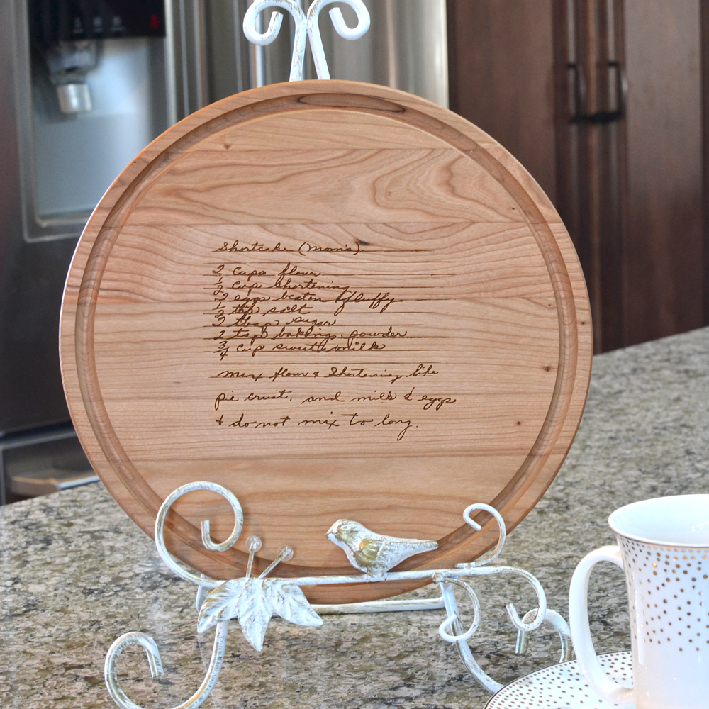 Maple wood cutting board laser engraved with family heirloom recipe