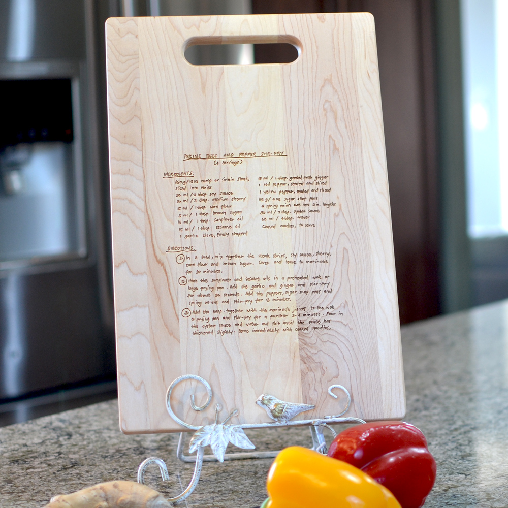 Maple Cutting Board featuring a custom laser-engraved family recipe