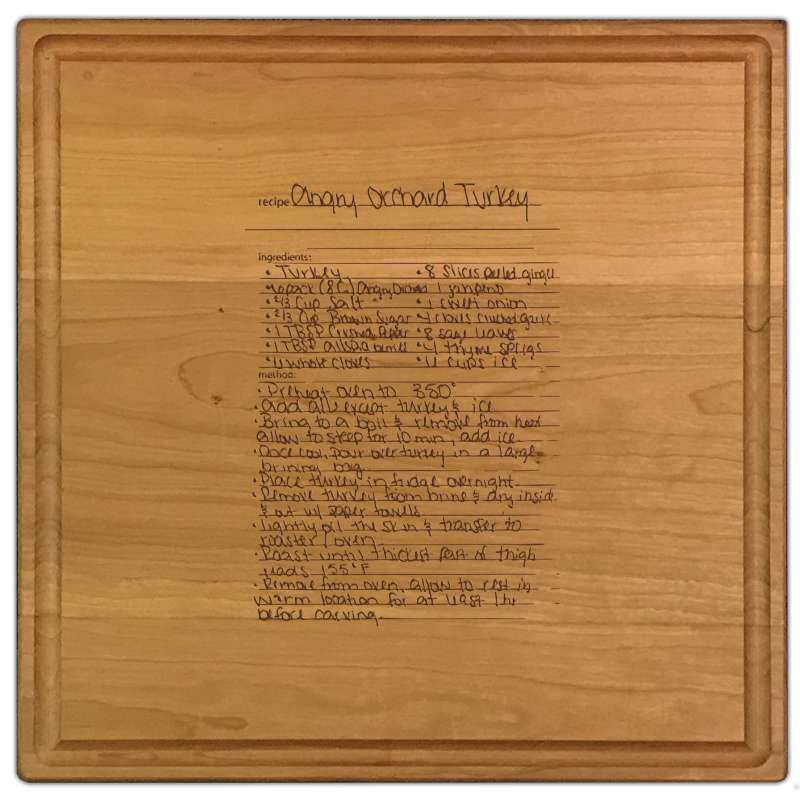 Cherry wood personalized 12 x 12 family recipe cutting board