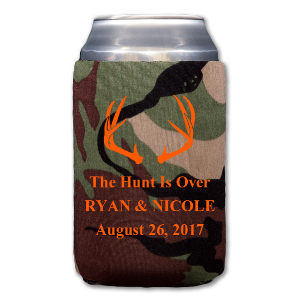 Neoprene camo can cooler personalized with deer antlers design and 3 lines of custom print