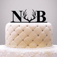 Rustic antler initials acrylic cake topper