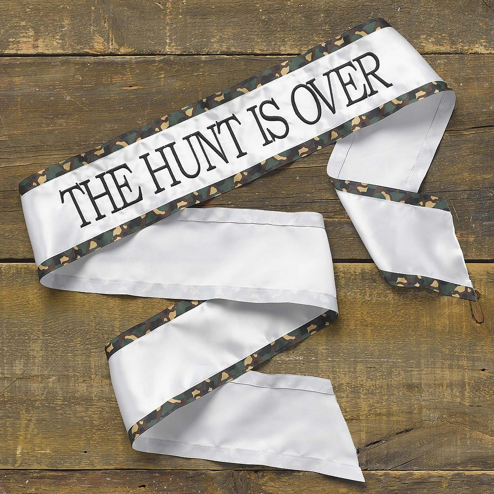 The Hunt Is Over green & brown camouflage bridal sash