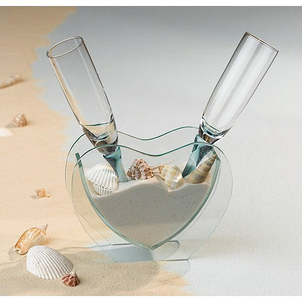 Toasting Flute Set With Heart Vase Sand And Seashell Accents