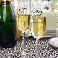 Braided stem wedding toasting glasses set personalized with double hearts design and two lines of custom print in Park Avenue letter style