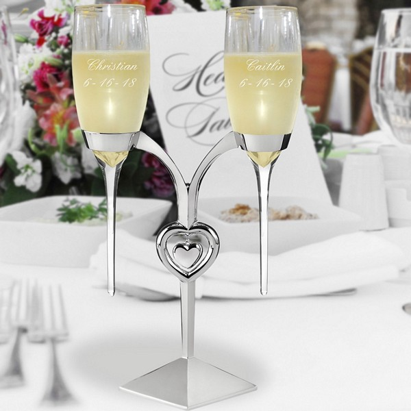 Raindrop wedding toasting flutes set custom engraved with bride and groom's name and wedding date