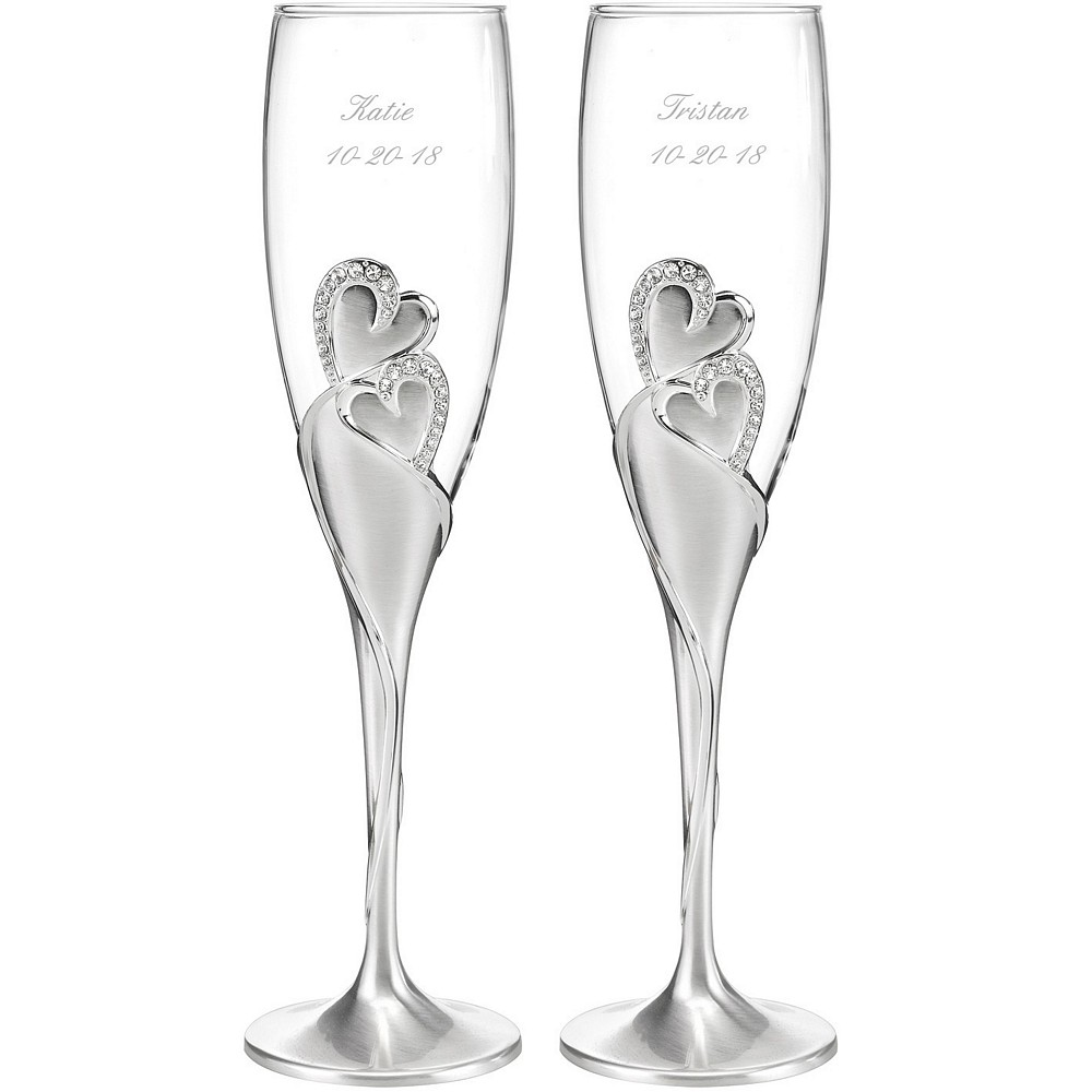 Double hearts design toasting flute set personalize with bride and groom's name and wedding date