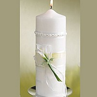 White unity candle with ribbon and porcelain calla lilies