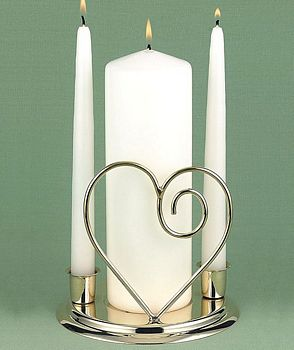 Ivory pillar unity candle with taper candles in gold single heart candle holder