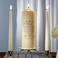 In Loving Memory autumn leaf themed memorial pillar candle