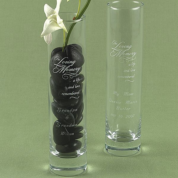 "Glass memory bud vase personalized with 4 lines of custom print and verse ""In Loving Memory - a life and love remembered"""