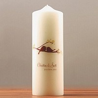 Personalized, love bird themed unity candle