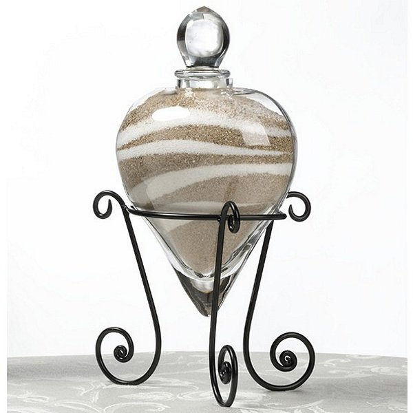 Glass Heart Wedding Unity Ceremony Sand Holder With Wire Stand