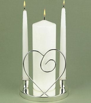 White pillar unity candle with taper candles in silver single heart candle holder