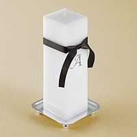 White square unity candle tied with a chocolate brown ribbon and features rhinestone-studded initial