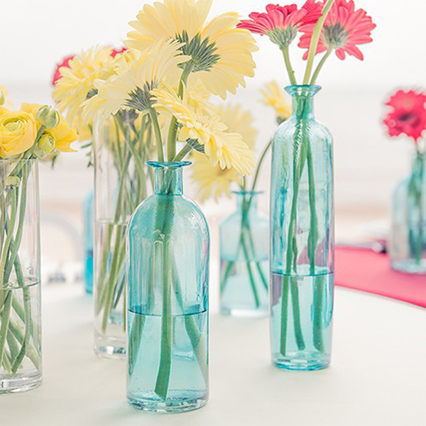 Blue Glass Bottle Decorations in assorted sizes