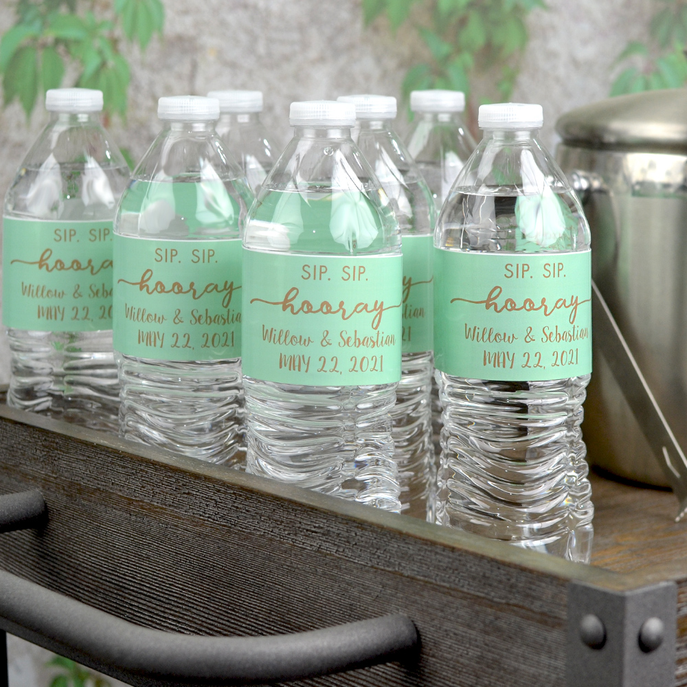 350 Water Proof Water Bottle Labels for a Wedding Personalized Gold Blush Flowers