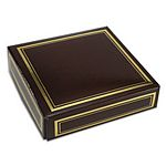 Brown favor box lid with metallic gold edge