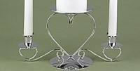 Triple Hearts Silver Tone Unity Candle Stand