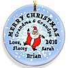 Santa Round Snow Christmas ornament design