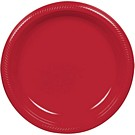 Red plastic dessert and dinner plate color