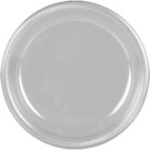 Silver plastic dessert and dinner plate color
